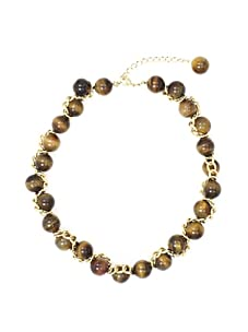 Tuleste Market Woven Marble Necklace, Gold/Tiger Eye