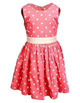 Shoppertree Pink Sleeveless A Line Frock With Dot Print