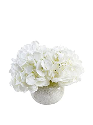 New Growth Designs White Hydrangea in Crackle-Glazed Fluted Clay Vase (White)
