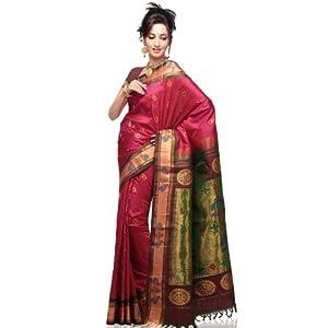 Rani Pink Pure Handloom Paithani Silk Saree With Blouse