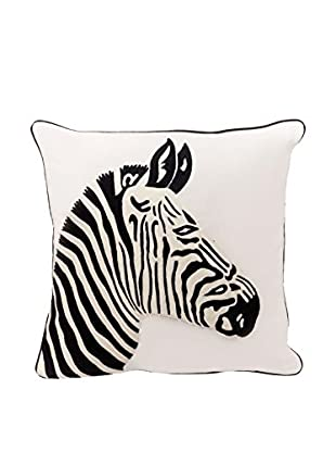 Torre & Tagus Safari Crewel Embroidered Square Cushion, Black/White