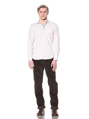 Steven Alan Men's Reverse Seam Button-Front Shirt (Beige/Red/Grey Plaid)