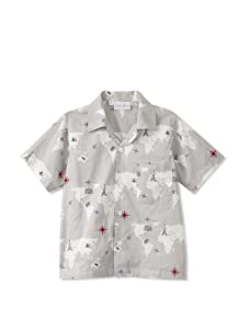 Rachel Riley Boy's Map Print Shirt (Grey)