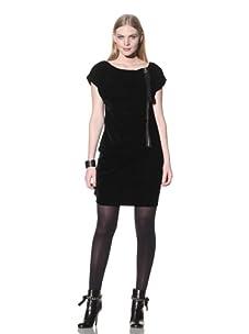 LOVE Moschino Women's Zippered Velvet Dress (Black)