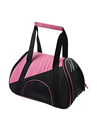Pet Life Airline Approved Zip-N-Go Contoured Pet Carrier, Pink/Black, Small