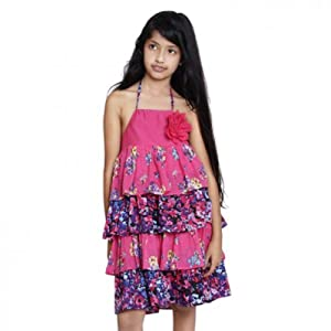 Fuchsia Pink & Purple Halter Neck Style Tiered Ruffle Dress for Girls by Stanza