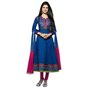 Traditional Blue Semi Stitched Anarkali Suit Material