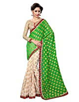 Sourbh Saree Green and Beige Lace Work Jacquard Best Sarees for Women Party Wear, Special Karwa Chauth Gifts for Wife, Women Clothing Collection