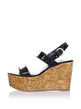 "Sergio Rossi Women's 4"" Patent Cork Sandal (Black)"