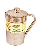 "IndianCraftVilla 6.5' X 4.0"" Handmade Copper and steel Jug Pitcher Volume 1.3 Liter With Lid water Storage Good health Benefits Yoga, Ayurveda"