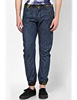Solid Blue Regular Fit Jeans Zaab