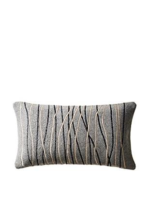 Cloud 9 Embroidered Felt Lumbar Pillow, Grey/Black