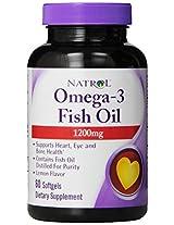 Natrol Omega-3 1200 mg Fish Oil Softgels, 60-Count