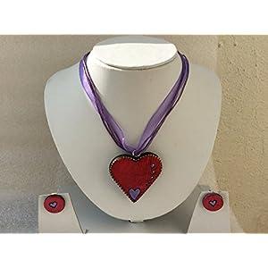 Anikalan Designs Red Heart Pendant Terracotta Necklace Set