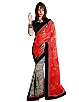 Riti Riwaz Red & Black saree with unstitched blouse SRA5010