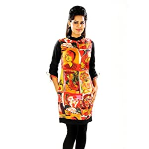 Pannkh Women Cotton Red Reversible Picasso Print Kurti
