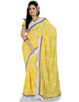 Utsav Fashion Women's Bright Yellow Faux Georgette Saree with Blouse