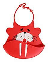 Wally Walrus Silicone Baby Bib - Tykes and Tails - Wipeable Food Grade Ultra Flexible Design for Ultra Comfort for your Baby
