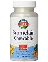 KAL Bromelain Chewable Tablets, Tropical Flavor, 100 mg, 100 Count