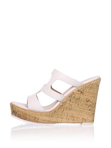 Lisa by Donald J Pliner Women's Kloe Cut Out Slide Wedge Sandal (Canvas/Silver/Natural)