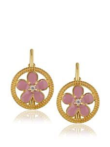 Frida Girl Pink Enamel Hanging Flower Earrings