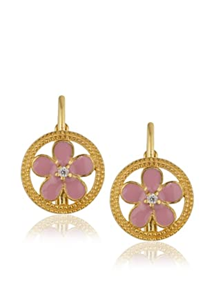Frida Girl Pink Enamel Hanging Flower Earrings