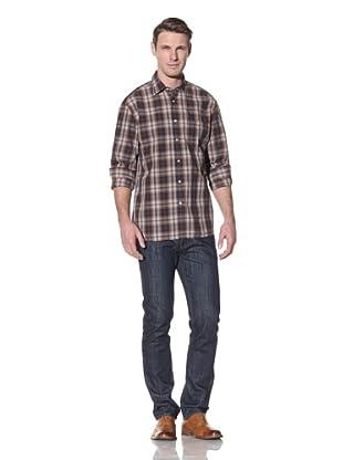 Hart Schaffner Marx Men's Spade Pocket Woven Shirt (Camel)