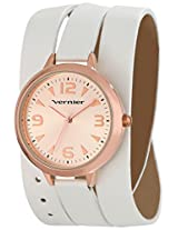 Vernier Women's VNR11176RG Vernier Rose-Tone Watch with White Wraparound Strap