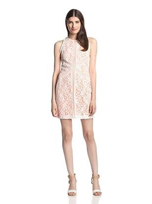 Muse Women's Stripe Insert Lace Sheath (White Peach)