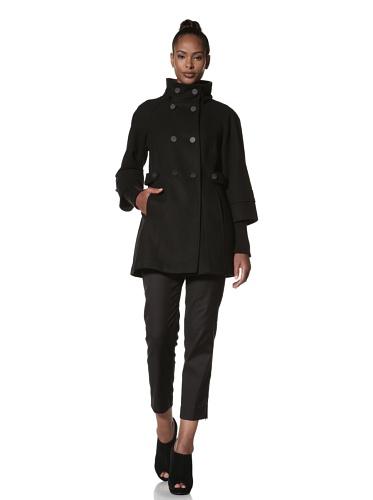 Hilary Radley Women's Double-Breasted Zara Coat (Black/Charcoal)