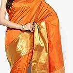 Orange Tassar Silk Saree With blouse piece