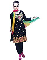 Cenizas Women Chiffon Dress Material Dress Material (Ashn636 _Black _Free Size)