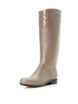 dav Women's Quilted English Knee-High Boot (Champagne)