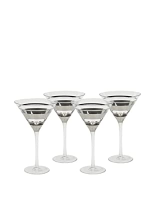 Impulse! Set of 4 Chelsea Martini Glasses, Clear/Silver
