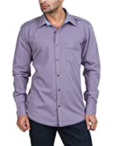 Zovi Cotton Regular Fit Casual Lilac Solid Shirt With Checkered Inner Band 1058400400142