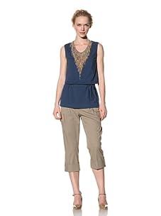 Philosophy di Alberta Ferretti Women's Sleeveless Top with Beaded Fringe (Dark Blue)