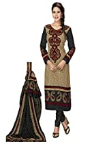 Salwar Studio Beige & Black Cotton Dress Material With Dupatta Priyanshi-5110