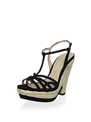 Pura López Women's T-Strap Espadrille Sandal (Ante Negro)