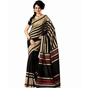 Bhagalpuri Silk Black Printed Saree