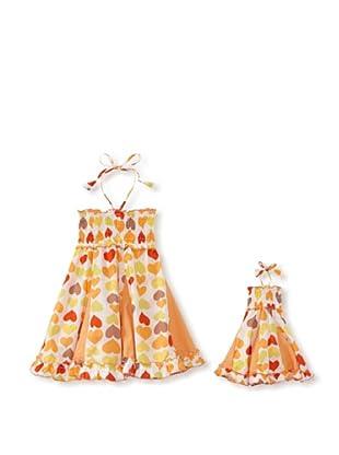 Me & Dolly by 4EverPrincess Girl's Swingy Dress (Orange Multi)