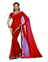 Designersareez Faux Georgette Gota Pati Saree (1515 _Dark Red)