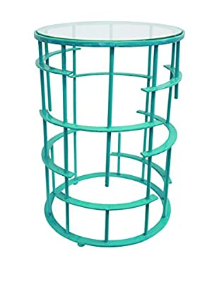 Couture Crestwood Table, High Gloss Turquoise/Clear