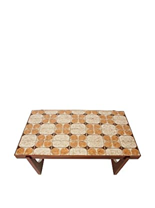 Scandinavian Tile Top Center Table, Brown/Orange/Cream