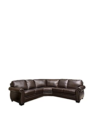 Abbyson Living Arizona Italian Leather Sectional Sofa, Dark Truffle