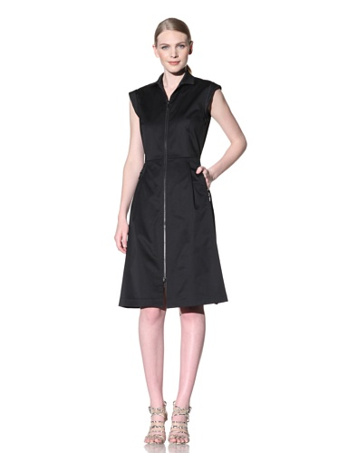 Lafayette 148 New York Women's Sleeveless Zip Front Dress (Black)