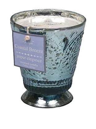 Jodhpuri 7.65-Oz. Coastal Breeze Jaipur Elegance Mercury Glass Candle, Blue/White