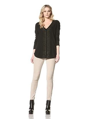 Jamison Women's V-Neck Studded Sweater (Black)
