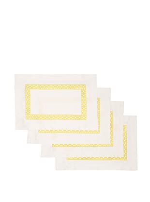 Trina Turk Set of 4 Palm Spring Blocks Embroidered Placemats (Yellow)