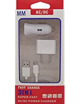 MM Micro USB for Android, Galaxies Home & Car Charger USB Cable 3 In 1 Charger 1.2 AMP