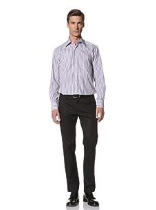 Valentino Men's Dress Shirt (White/Light Blue/Navy Stripe)